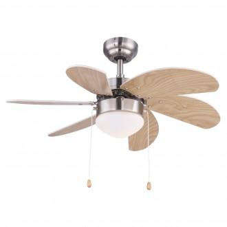 GLOBO 03301 | Rivaldo Globo stropne svjetiljke ventilatorska lampa s poteznim prekidačem 1x E14 poniklano mat, bukva, bež