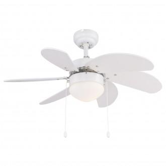 GLOBO 03302 | Rivaldo Globo stropne svjetiljke ventilatorska lampa s poteznim prekidačem 1x E14 bijelo