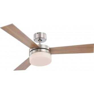 GLOBO 0333 | Alana Globo stropne svjetiljke ventilatorska lampa daljinski upravljač 2x E14 poniklano mat, srebrno, bijelo