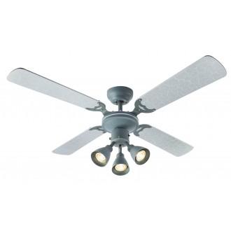 GLOBO 03357 | HarveyG Globo stropne svjetiljke ventilatorska lampa s poteznim prekidačem 3x GU10 srebrno, beton