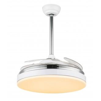 GLOBO 0351 | Cabrera Globo stropne svjetiljke ventilatorska lampa daljinski upravljač sa podešavanjem temperature boje, elementi koji se mogu okretati 1x LED 3600lm 3000 - 4000 - 6000K krom, metal bijela, prozirna