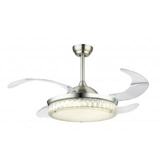 GLOBO 0352 | Cabrera Globo stropne svjetiljke ventilatorska lampa daljinski upravljač sa podešavanjem temperature boje, elementi koji se mogu okretati 1x LED 3600lm 3000 - 4000 - 6000K krom, poniklano mat, prozirno