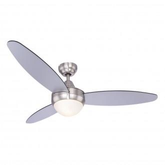 GLOBO 03611 | Cordula Globo stropne svjetiljke ventilatorska lampa daljinski upravljač 2x E14 poniklano mat, crno, srebrno