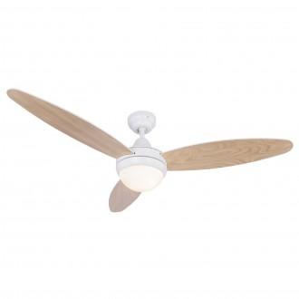 GLOBO 03612 | Cordula Globo stropne svjetiljke ventilatorska lampa daljinski upravljač 2x E14 bijelo, bukva