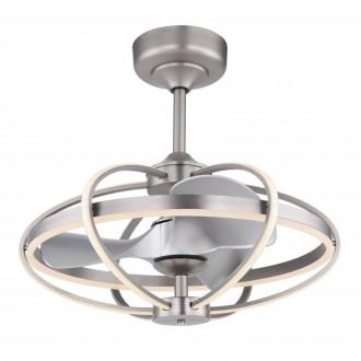 GLOBO 03613 | Simona-GL Globo ventilatorska lampa stropne svjetiljke daljinski upravljač jačina svjetlosti se može podešavati, sa podešavanjem temperature boje, timer, noćno svjetlo 1x LED 3250lm 3000 <-> 6000K poniklano mat, srebrno, opal