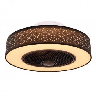 GLOBO 03621 | Rosario Globo ventilatorska lampa stropne svjetiljke daljinski upravljač timer 1x LED 1400lm 3000K crno, opal, antik crno