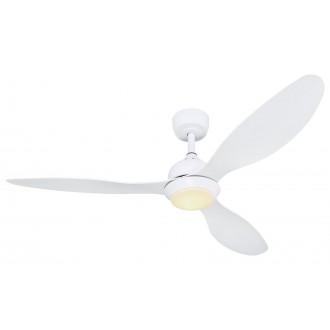 GLOBO 03640W | Romina-GL Globo ventilatorska lampa stropne svjetiljke daljinski upravljač jačina svjetlosti se može podešavati, sa podešavanjem temperature boje, timer, noćno svjetlo 1x LED 990lm 3000 - 4000 - 6000K bijelo mat, bijelo