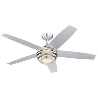 GLOBO 03641 | Viviana Globo ventilatorska lampa stropne svjetiljke daljinski upravljač jačina svjetlosti se može podešavati, sa podešavanjem temperature boje, timer 1x LED 990lm 3000 - 4000 - 6000K poniklano mat, matirano srebro, bijelo mat