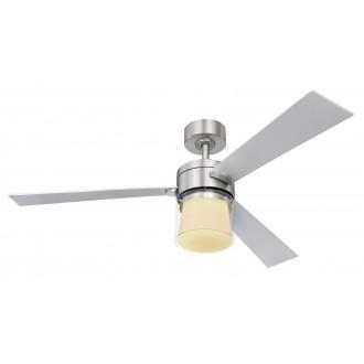GLOBO 03642 | Verlosa Globo ventilatorska lampa stropne svjetiljke daljinski upravljač jačina svjetlosti se može podešavati, sa podešavanjem temperature boje, timer 1x LED 990lm 3000 - 4000 - 6000K poniklano mat, matirano srebro, bijelo mat