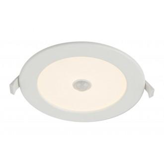 GLOBO 12391-12S | Unella Globo ugradbena svjetiljka sa senzorom Ø170mm 1x LED 1000lm 3000K IP44/20 bijelo, opal mat