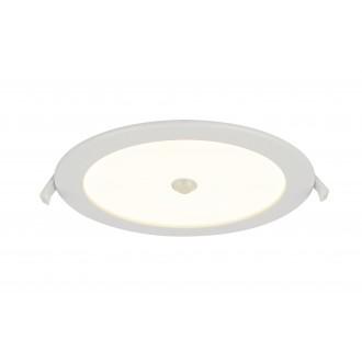 GLOBO 12392-18S | Polly Globo ugradbena svjetiljka sa senzorom Ø220mm 1x LED 1900lm 3000K IP44/20 bijelo, opal mat