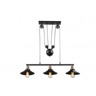 GLOBO 15053-3 | Lenius Globo visilice svjetiljka balansna - ravnotežna, sa visinskim podešavanjem 3x E27 metal crna, antik bakar