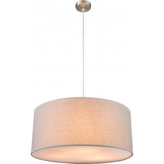 GLOBO 15185H1 | Paco Globo visilice svjetiljka 3x E27 poniklano mat, saten, sivo