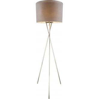 GLOBO 15185S1 | Paco Globo podna svjetiljka 160cm 1x E27 poniklano mat, sivo, bijelo