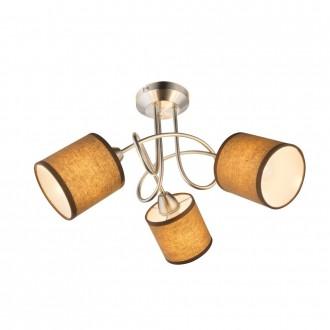 GLOBO 15186-3D | Betty Globo stropne svjetiljke svjetiljka 3x E14 poniklano mat, smeđe, bijelo