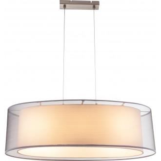 GLOBO 15190H2 | Theo Globo visilice svjetiljka 3x E27 poniklano mat, bijelo, bijelo