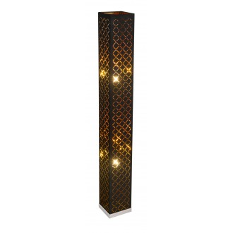 GLOBO 15229S2 | Kidal-Clarke Globo podna svjetiljka 118cm sa nožnim prekidačem 2x E27 poniklano mat, zlatno, crno