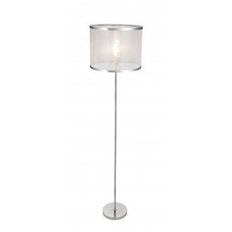 GLOBO 15259S | Naxosg Globo podna svjetiljka 162cm sa nožnim prekidačem 1x E27 krom, bijelo
