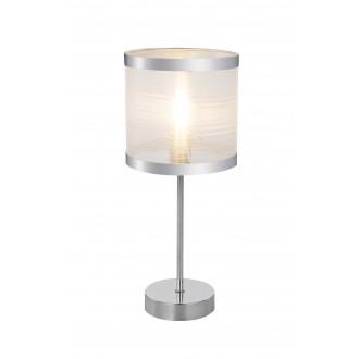 GLOBO 15259T | Naxosg Globo stolna svjetiljka 37cm s prekidačem 1x E14 krom, bijelo