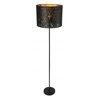 GLOBO 15264S | Tuxon-Tarok Globo podna svjetiljka 160cm s prekidačem 1x E27 metal crna, zlatno