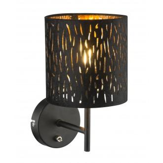 GLOBO 15264W   Tuxon-Tarok Globo zidna svjetiljka s prekidačem 1x E14 metal crna, zlatno