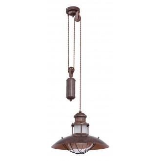 GLOBO 15355Z | Badalona-GL Globo visilice svjetiljka s podešavanjem visine 1x E27 smeđe, prozirno