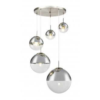GLOBO 15851-5 | Varus Globo visilice svjetiljka 3x E27 + 2x E27 krom, poniklano mat, prozirno