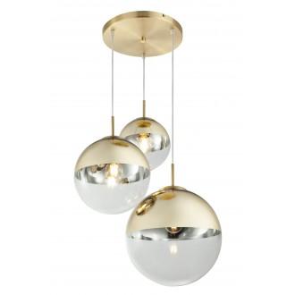 GLOBO 15855-3 | Varus Globo visilice svjetiljka 3x E27 mesing, prozirno, zlatno