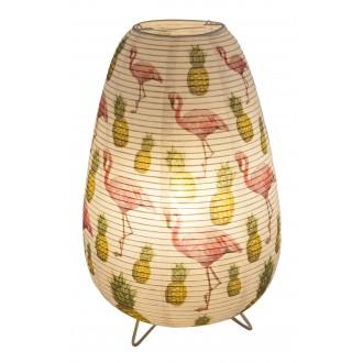 GLOBO 16921T | Flamant Globo stolna svjetiljka 34cm sa prekidačem na kablu 1x E14 bijelo, šare