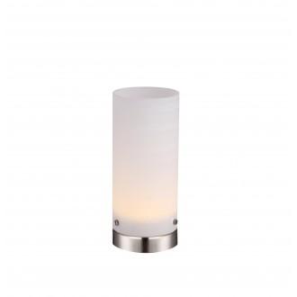 GLOBO 21926 | Cyli Globo stolna svjetiljka 20cm s prekidačem 1x LED 400lm 3000K poniklano mat, bijelo