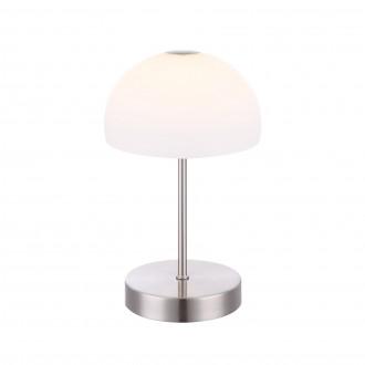 GLOBO 21936   Snowflake Globo stolna svjetiljka 26cm sa tiristorski dodirnim prekidačem jačina svjetlosti se može podešavati 1x LED 400lm 3000K poniklano mat, bijelo