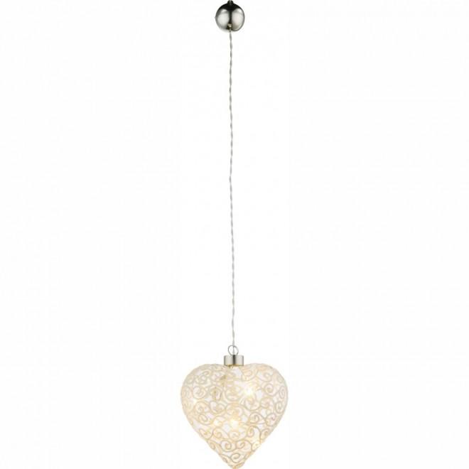 GLOBO 23233 | Kreta Globo dekoracija svjetiljka s prekidačem 6x LED poniklano mat, bijelo