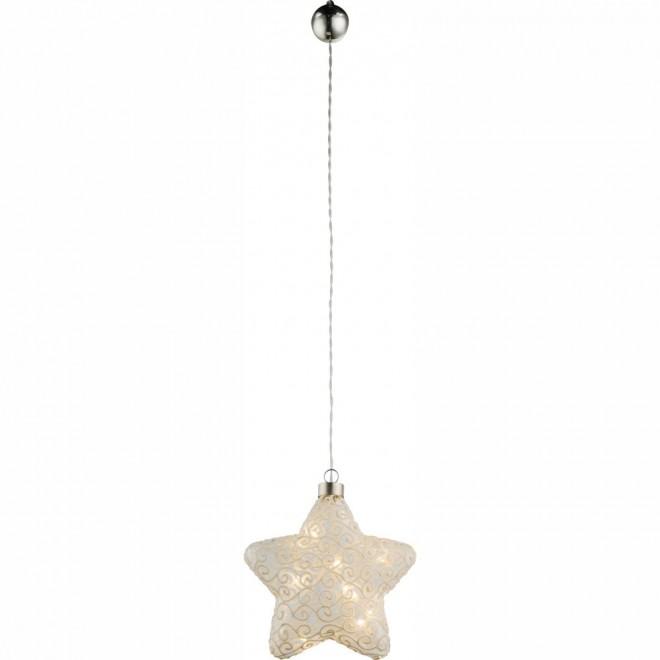 GLOBO 23234 | Kreta Globo dekoracija svjetiljka s prekidačem 10x LED poniklano mat, bijelo