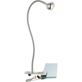 GLOBO 24109K | Serpent Globo svjetiljke sa štipaljkama svjetiljka s prekidačem fleksibilna 1x LED 150lm 3000K poniklano mat, krom