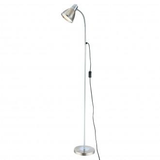 GLOBO 24778 | Ego Globo podna svjetiljka 146cm sa prekidačem na kablu fleksibilna 1x E27 poniklano mat, krom