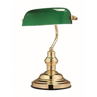 GLOBO 2491 | Antique Globo stolna svjetiljka 36cm s prekidačem 1x E27 zlatno, zeleno