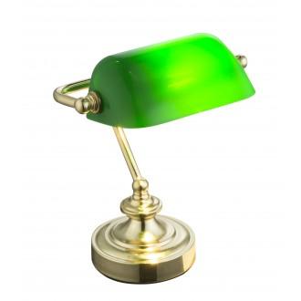 GLOBO 24917 | Antique Globo stolna svjetiljka 24cm sa prekidačem na kablu 1x E14 mesing, zeleno
