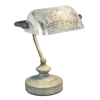 GLOBO 24917G | Antique Globo stolna svjetiljka 24cm sa prekidačem na kablu 1x E14 beton, srebrno