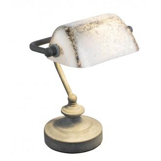 GLOBO 24917R | Antique Globo stolna svjetiljka 24cm sa prekidačem na kablu 1x E14 rdža smeđe, antik zlato