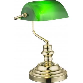 GLOBO 2491K | Antique Globo stolna svjetiljka 36cm s prekidačem 1x E27 mesing, zeleno