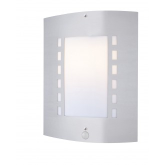 GLOBO 3156S | Orlando Globo zidna svjetiljka sa senzorom 1x E27 IP44 čelik, opal