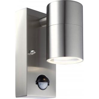 GLOBO 3201SL | Style Globo zidna svjetiljka sa senzorom 1x GU10 210lm 3000K IP44 čelik, opal