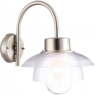GLOBO 32074 | Mixed Globo zidna svjetiljka 1x E27 IP44 plemeniti čelik, čelik sivo, opal