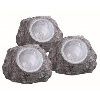GLOBO 3302-3 | Soglo15 Globo u obliku kamena svjetiljka solarna baterija, trodijelni set 4x LED IP44 sivo