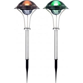 GLOBO 33041-2 | Soglo87 Globo ubodne svjetiljke svjetiljka solarna baterija, promjenjive boje, dvodijelni set 1x LED IP44 plemeniti čelik, čelik sivo, višebojno