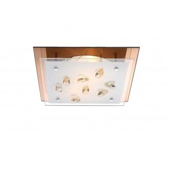 GLOBO 40412-2 | Ayana Globo stropne svjetiljke svjetiljka 2x E27 krom, bijelo, jantar