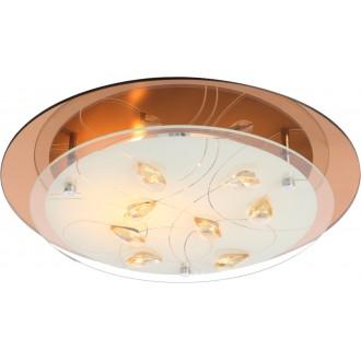 GLOBO 40413-2 | Ayana Globo stropne svjetiljke svjetiljka 2x E27 krom, bijelo, jantar