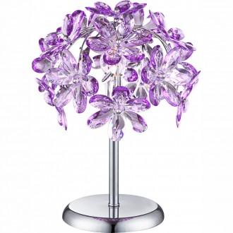 GLOBO 5142-1T | Purple Globo stolna svjetiljka 36cm s prekidačem 1x E14 krom, ljubičasta