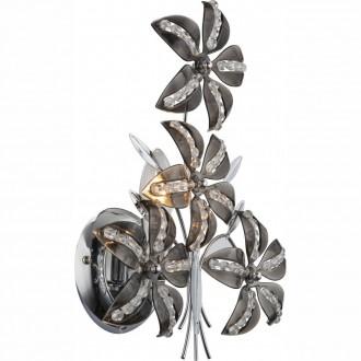 GLOBO 51421W | Kaunos Globo zidna svjetiljka s poteznim prekidačem 1x E14 krom, dim, prozirno