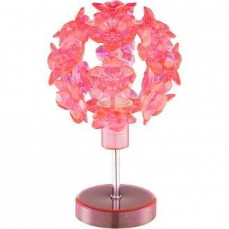 GLOBO 51564T | Virginia Globo stolna svjetiljka 25cm s prekidačem 1x E14 krom, crveno